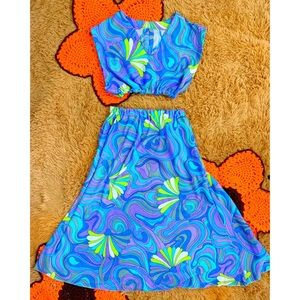Psychedelic Vintage 60s 70s Two Piece Skirt Set